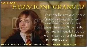 I was Hermione Granger at the Harry Potter character quiz @ Crazylicious.com